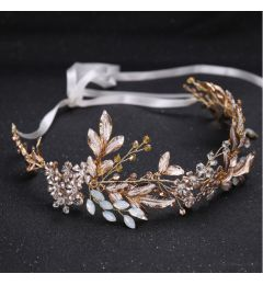 "Bridal Wedding Hair Piece, Champagne and Gold Colour with Pearlised Leaves and Crystals ""Bernadette"""
