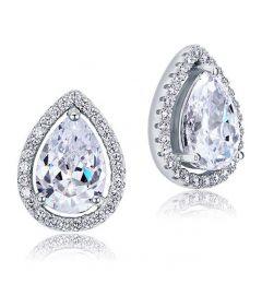 3 Carat Heart Clear Simulated Diamond Huggie Earrings