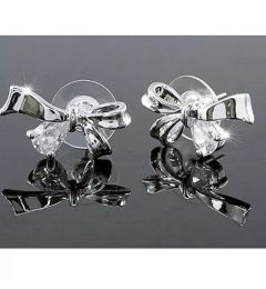"Beautiful Silver Plated Swarovski Crystal Bow Earrings ""Aimee"""