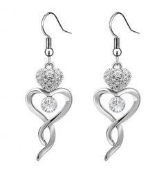"Heart Dangle Earrings White Gold Plated with Swarovski Crystals ""Abilene"""