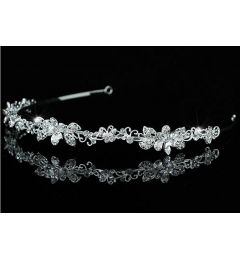 "Silver Plated Clear Crystal Bridal Headband with Butterflies ""Calandra"""