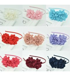 "Pretty Satin Headband with 2 Flowers ""Fabia"""