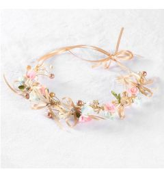 "Beautiful Headpiece, Bohemia Crown, in Gold, Pink and Blue Flowers and Beading, Bridesmaid, Occasion ""Hariet"""