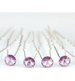 """Set of 6 Lilac Plated Bridal Swarovski Crystal Hair Pins for Bride, Bridesmaid """"Syrana"""""""
