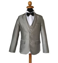 "Silver Grey Boys 5 Piece Suit with Bow tie Age 1-14 years ""Lucas"""