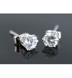 "Cubic Zirconia Stud 18K White Gold Plated 5mm Earrings ""Bailey"""