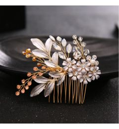 "Unique Crystals Hair Comb in Gold and Champagne ""Purdy"""