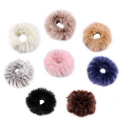 "Elastic Furry Hair Tie in Ivory, Pink, Black ""Pansy"""
