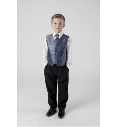 "Boys 4 Piece Suit in Navy Blue and Silver Swirl ""Rocco"""