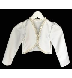 "Girl's Satin Jacket, Bolero in White or Ivory ""Saria"""
