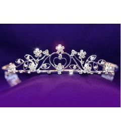 "Silver Plated Clear Crystal Bridal Tiara ""Elisa"""