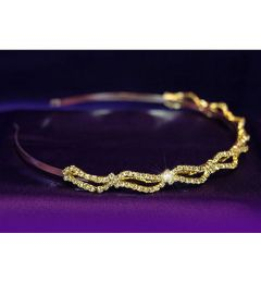 "Gold Plated Clear Crystal Bridal Headband ""Raquel"""