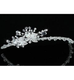 "Silver Plated Bridal Wedding Crystal Flower Headband, Headpiece ""Salva"""