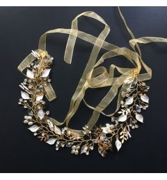 "Bridal Wedding Hair Piece, Gold Colour with Pearlised Silver Leaves, Crystals and Pearls ""Teresa"""