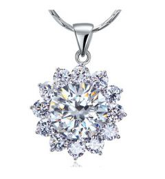 "Sparkling 8 Carats Flower Simulated Diamond Pendant & Necklace ""Stacey"""
