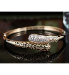 "Vintage Style Rose Gold Plated Simulated Diamond Bangle, Bracelet ""Mariette"""
