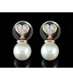 "Elegant Gold Plated Heart Design Pearl and Swarovski Crystal Earrings ""Dori"""