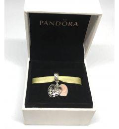"Genuine Pandora 925 Sterling Silver Dangle Charm ""Love Makes A Family"""