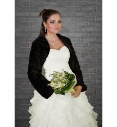 "Faux Fur Long Sleeve, Bridal Jacket, Bolero, BLACK ""Tundra"""
