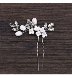 Bridal Handmade Crystal and Flower Hair Pin Accessory for Bride, Bridesmaid