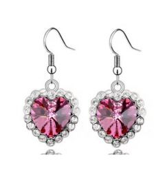 """Gorgeous PINK Dangle Cubic Zircona Heart Earrings Πανέμορφα """"Miranda"""""""