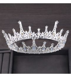 "Silver Plated Stunning Crystal Bridal Crown Bride, Show, ""Camala"""