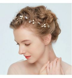 "Bridal Headpiece with Crystals and Pearls ""Freesia"""