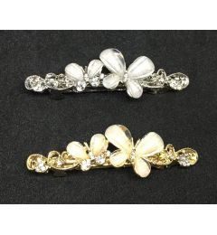 "Butterfly Barrette Clip with Crystals in Silver or Gold Colour ""Irsia"""