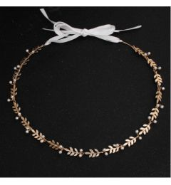 "Bridal Wedding Greek Style Hair Piece, Gold Colour with Leaves & Faux Pearls ""Jemima"""