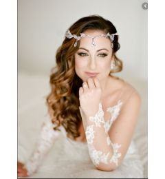 "Crystal Bridal Crown in Silver with Leaf design and Crystals ""Mariana"""