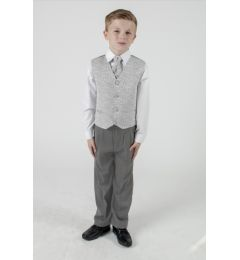 "Boys 4 Piece Suit in Silver Swirl ""Rocco"""