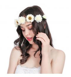 "Garland, Bohemia Hair Wreath with 7 Peonies in Ivory and Light Yellow for Bridesmaid  ""Shyla"""