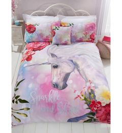 Sparkle Unicorn Single Duvet Cover And Pillowcase Set