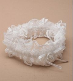 """Bridal Garter with Satin Ribbon and Lace in White or Ivory """"Lizaki"""""""