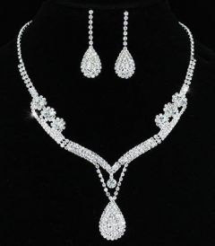 Bridal Jewellry Set Bridal Wedding Crystal Silver Plated Necklace Earrings