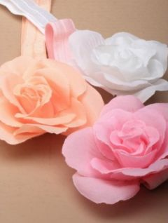 Pretty Fabric Flower on Elastic in White, Pink or Coral
