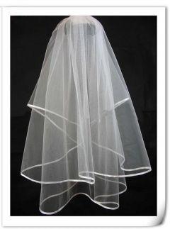 2 tier waist length bridal veil with Satin Edges