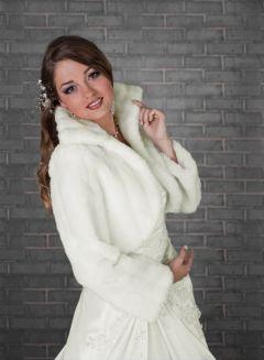 Faux Fur Bridal Cape, Bolero in White or Ivory