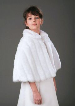 """Bridesmaid Jacket Faux Fur, Cape Ivory or White """"Helen"""""""