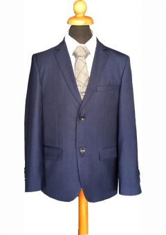 """Navy Blue Marine Boys 5 Piece Suit with Grey Waist Coat Age 8-14 years """"George"""""""