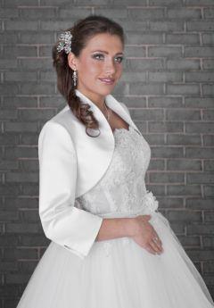 Satin Long Sleeve, Bridal Jacket, Bolero, Ivory or White
