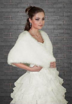 Bridal Faux Fur Wrap in White or Ivory
