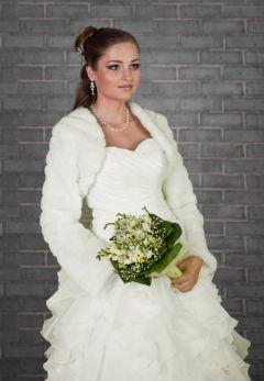 "Faux Fur Long Sleeve, Bridal Jacket, Bolero, Ivory ""Tundra"""