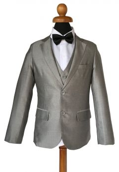 """Silver Grey Boys 5 Piece Suit with Bow tie Age 1-14 years """"Lucas"""""""