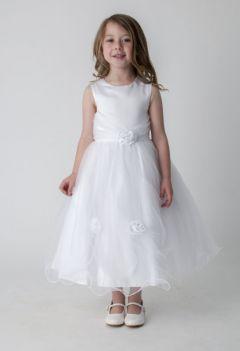 """Beautiful Long, Full Length Satin Bridesmaid, Party Dress with Roses in WHITE """"Valentina"""""""