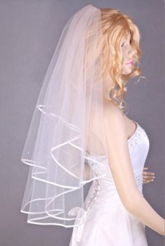 2 Tier Bridal Veil in White with Swarovski Crystals