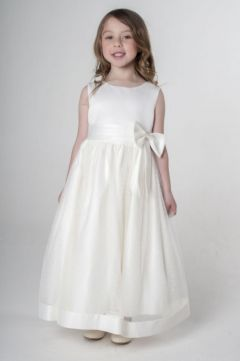 """Beautiful Long, Full Length Satin Bridesmaid, Party Dress in White """"Veronica"""""""