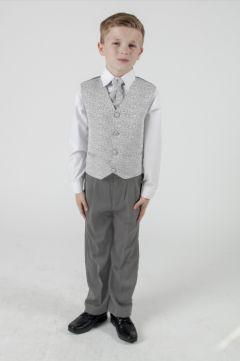 "Boys 4 Piece Suit in Silver Swirl ""Rocco"""