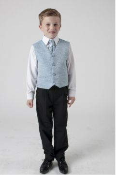 "Boys 4 Piece Suit in Sky Blue Swirl ""Rocco"""