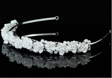 Silver Plated Stunning Bead and Porcelain Headband for Bridesmaid, Wedding
